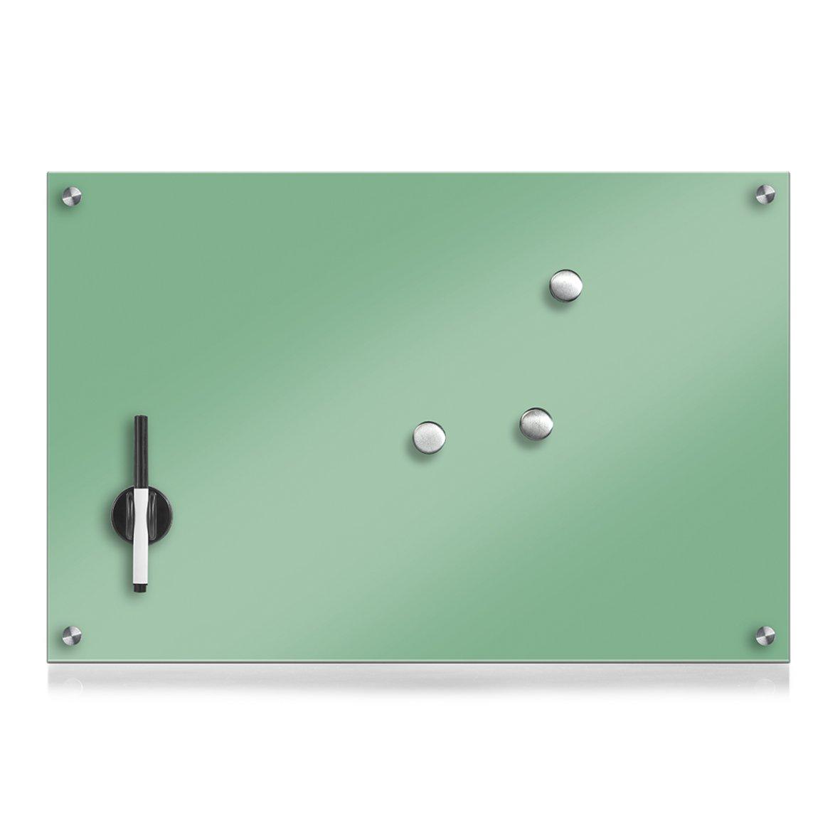 Zeller Black Glass Notice Board 60x 40x 1cm Mint Green by Zeller