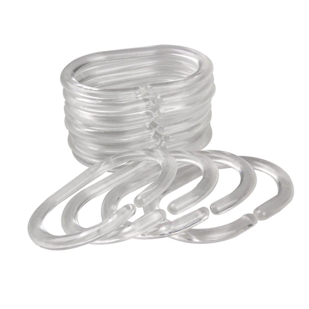 Dealglad® 10 Sets (120pcs) Flexible Plastic Clear C Type Bathroom Shower Curtain Liner Hooks Rings Bath Drape Loop Clasp
