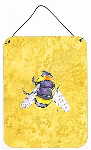 Multicolor Carolines Treasures 8852DS1216 Bee on Yellow Aluminium Metal Wall or Door Hanging Prints 12x16