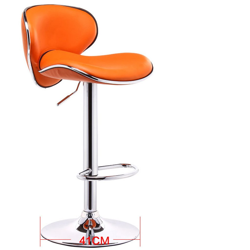 orange Greawei@ Bar Stool chair Lift chair bar Stool high Stool Comfortable and Durable (color   pink red)