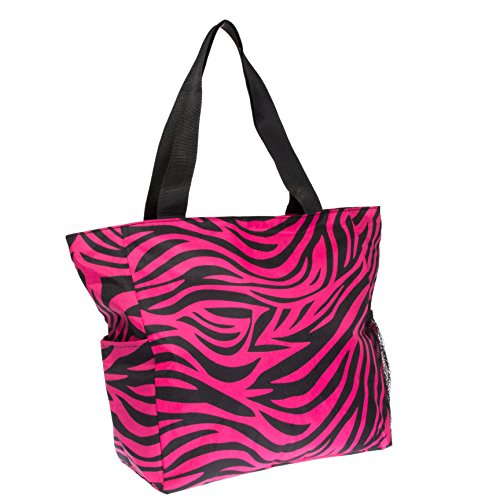 Zebra Print Beach Shopper Tote Bag (Fuchsia & - Shopper Zebra