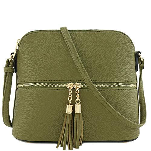 (Tassel Zipper Pocket Dome Crossbody Bag (Olive))