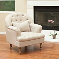 Nelson Sandy Beige Tufted Fabric Arm Chair