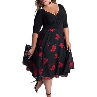 iShine Übergröße Rockabilly Kleid Damen V-Ausschnitt 1/2 Arm Kleid ...