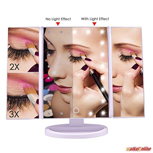 WAIKEI Portable Travel Lighted Vanity Makeup Mirror 21 LE...