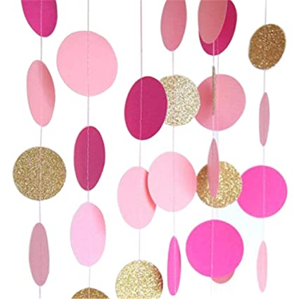 Hangnuo Circle Dots Paper Garland Backdrop Banner for Wedding Baby Shower Decoration - Pink, Rose Red, Glitter Gold