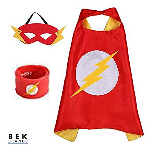 Bek Brands Superhero Cape and Mask with Snap Wrist Bracelet | Dress up Kids Costumes (Flash)