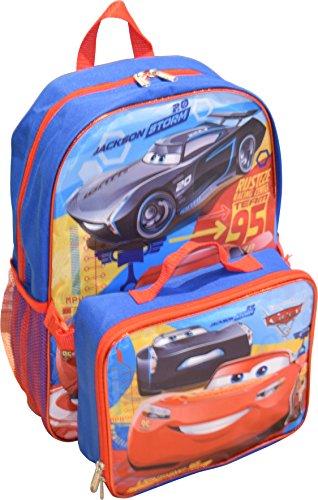 "Disney Cars Jackson & Lightning McQueen 16"" Backpack W/ Detachable Lunch Box"
