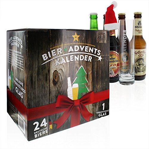 Premium Bier-Adventskalender mit Ihrer individuellen Gravur: 24 ausgesuchte Bier-Sorten + 1 exklusives Verkostungsglas