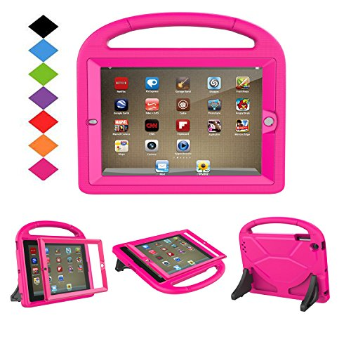 LTROP iPad 2 3 4 Kids Case - Light Weight Shock Proof Handle Friendly Convertible Stand Kids Case with Bulit in Screen Protector for iPad 2, iPad 3rd Generation, iPad 4th Generation,Rose by LTROP