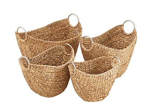 Benzara Antique Colonial Designer Wicker Metal Basket Set of 4, 21