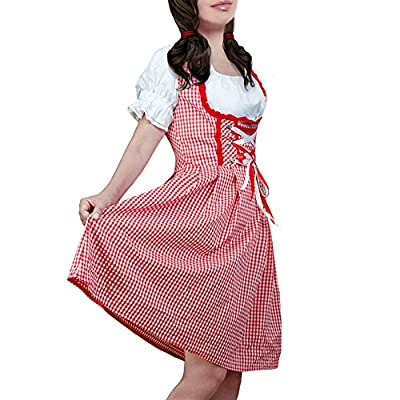 DJT Women's 3 Pcs Dirndl Serving Wench Bavarian Beer Girl Oktoberfest Adult Costume