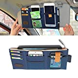 SunTrade Car Universal Sun Visor Storage Organizer Pocket Pouch,Card Pen Phone Holder(Style 5, Dark Blue)
