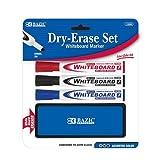 BAZIC 3 Asst. Color Chisel Tip Dry Erase Marker w/ Eraser, Case Pack of 72