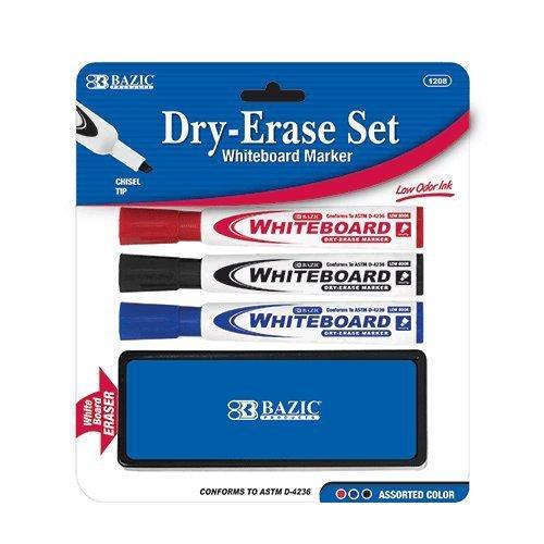 BAZIC 3 Asst. Color Chisel Tip Dry Erase Marker w/ Eraser, C