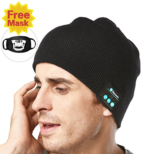 XIKEZAN Unisex Bluetooth Beanie w/ Mouth Mask Winter Knit Hat V4.1 Wireless Musical Headphones Earphones w/ Speakers Beanies Hats Cap Unique Christmas Tech Gifts for Teen Young Boys Girls Men Women