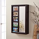 Stylish Wall-Hanging Mirrored Jewelry Armoire With Space For Five 4 x 6 Keepsake Pictures, Canvas-Lined Interior, Engineered Wood Construction, Handsome Espresso Finish, Adds Style To Any Room