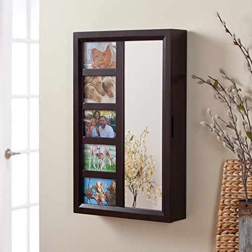 Stylish Wall-Hanging Mirrored Jewelry Armoire With Space For Five 4 x 6 Keepsake Pictures, Canvas-Lined Interior, Engineered Wood Construction, Handsome Espresso Finish, Adds Style To Any - Canvas Armoire