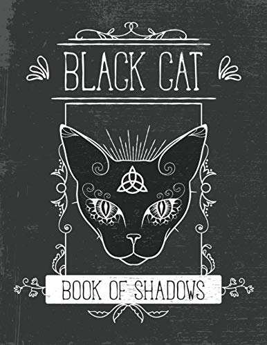 Black Cat Book of Shadows: Grimoire Journal Pagan Magic Spell Fill In Blank Notebook 8.5x11 150 Pages