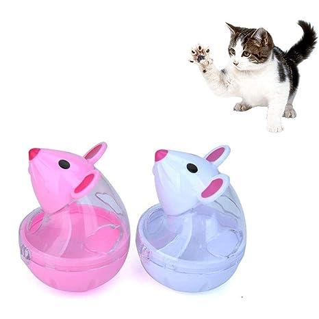 Zhuotop Dispensador de golosinas para Gatos, Juguete con Forma de ratón, comedero Lento,