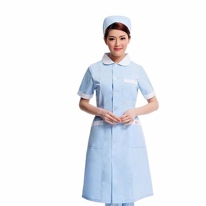 Xuanku Enfermera De Manga Corta De Verano, Farmacia, Salón De Belleza, Salón De Belleza Delantero Bata, Bata Blanca, Cuello Redondo, Ropa De Trabajo: ...