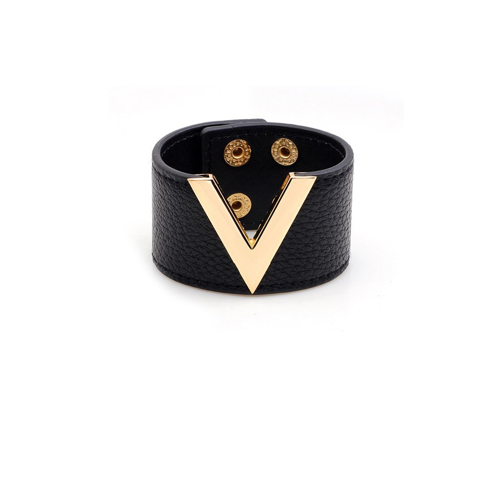 METTU Fashion Wide Leather v Word Trend Woman Bracelet Adjustable Glamour Cuff Bangle Jewelry (Black)