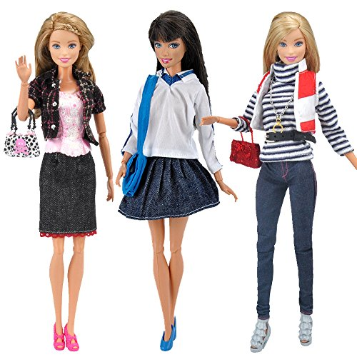 E-TING 3 Pack Fashion Doll Clothes Casual Wear Coat T-shirt Denim Skirt with Necklace Handbag for Barbie Dolls