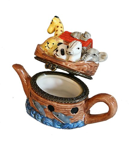 Jewish Unique Ceramic Gift / Jewelry Box, Noah's Ark With Animals Design Shaped in Style of pot. Great Gift For: Rosh Hashanah Shabbat Purim Sukkot Simchat Torah Hanukkah Passover Lag Baomer Shavuot Rabbi Bridesmaid Temple Shul Chupah Wedding Housewarming Thanksgiving Anniversary Mother's Day father's Day Bar Mitzvah Bat Mitzva And Jewish Homes. Jewish Art
