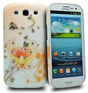Accessory Master - Carcasa rígida para Samsung Galaxy S3 i9300, diseño de corazones con strass, color naranja
