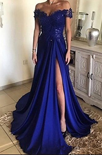 Fuchsia with Dress Dreagel Slit Shoulder Sexy Bridesmaid Evening Dresses Appliqued Off Prom OS7fnpqO