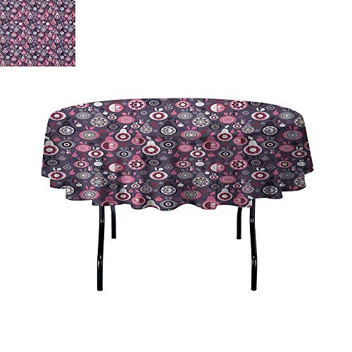 DouglasHill Fruit Leakproof Polyester Tablecloth Ornamental and Artistic Food Pattern Pears and Apples with Abstract Flower Motifs Outdoor and Indoor use D55 Inch Multicolor