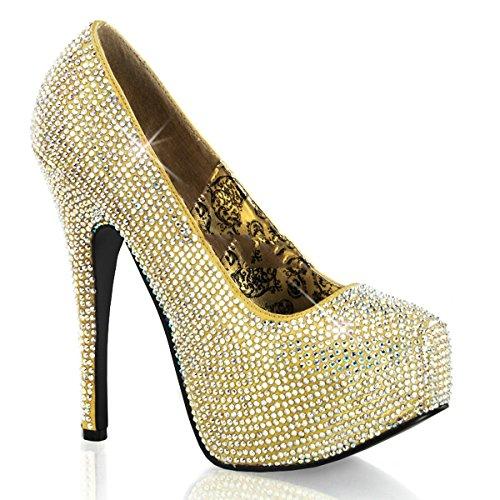 Bordello - Zapatos de vestir de satén para mujer dorado dorado