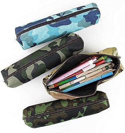 Juego de 4 estuches para lápices de camuflaje con cremallera, estuche de lona para cosméticos: Amazon.es: Oficina y papelería