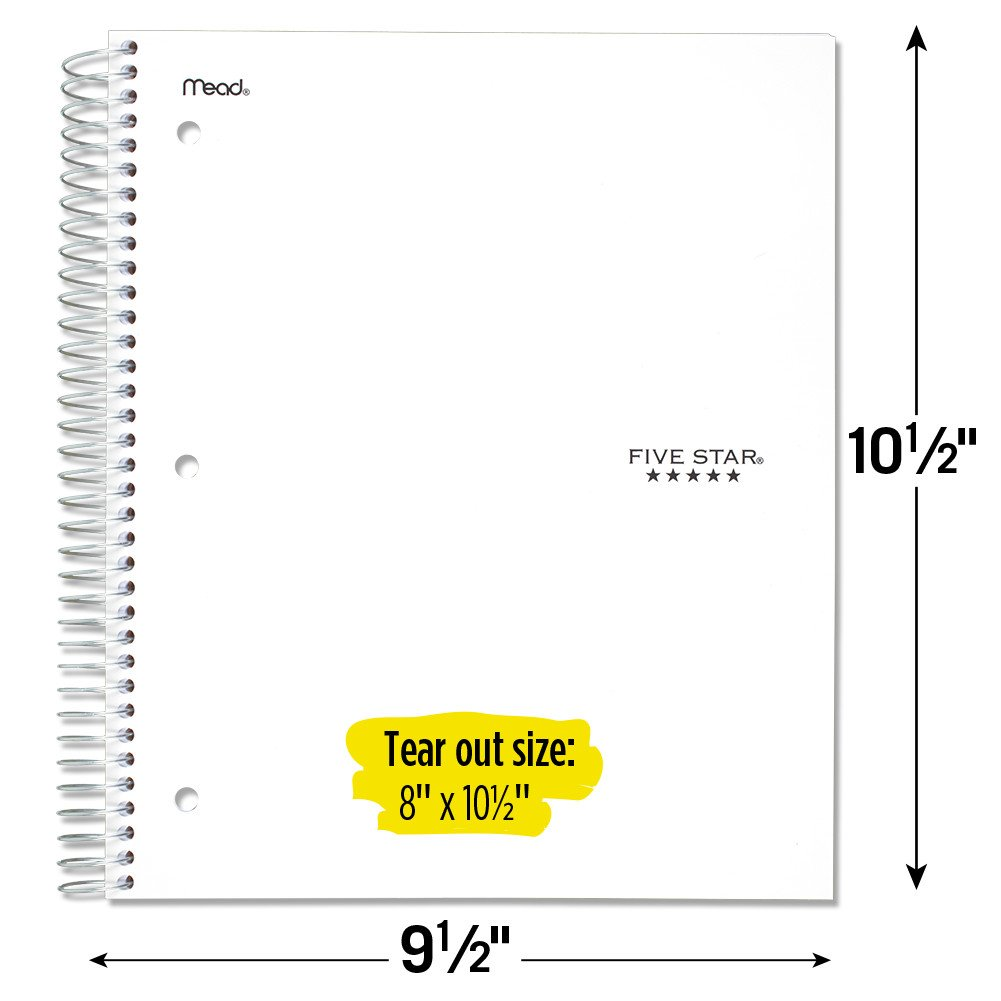Five Star Spiral Notebooks, 5 Subject, Wide Ruled Paper, 200 Sheets, 10-1/2'' x 8'', Black, White, 2 Pack (73037) by Five Star (Image #6)
