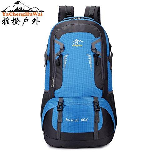 Mountaineering Bag Outdoor Männer und Frauen Schulter Rucksack Wanderpackage Bergsteigen Taschen , 60l blau