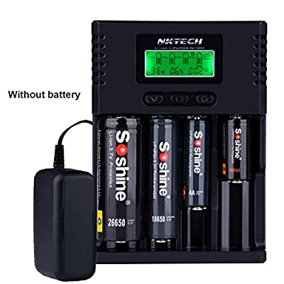 NKTECH H4 4-Slots Intelligent Smart LCD Universal Batteries Charger For Lithium Li-ion Ni-MH Ni-Cd LiFePO4 26650 18650 18350 16340 14500 AA AAA C Battery