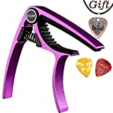 Capo,Guitar Capo for Acoustic and Electric Guitars, Zinc Alloy- Quick Change Guitar Capo (MS-20 Purple) & Free Pick and pick necklace