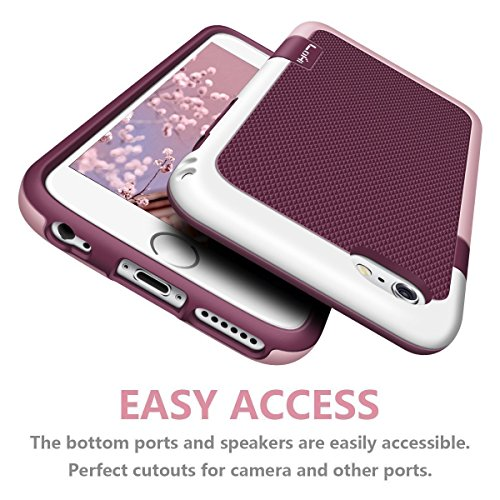 iPhone 6 Plus instance LoHi iPhone 6s Plus instance Hybrid Impact 3 Color Shockproof tough instance gentle TPU Hard PC Bumper Extra Front Raised Lip Anti move Cover for Apple iphone 6s Plus 55 Inch Red Cases