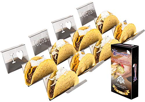 Stainless Steel Taco Holder Stand: 4 Stamped Solid Metal Tray Holders For Serving Up Soft & Hard Shell Food Truck Style Tacos - Fun Grill, Oven & Dishwasher Safe Taco Trays Great for Kids or Parties