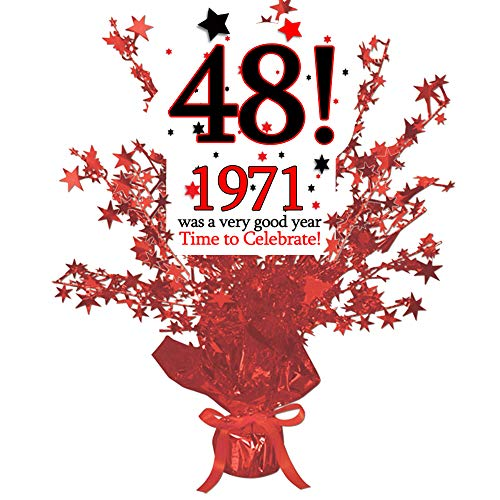 1971-48th Birthday Red Star Centerpiece (Each) by Partypro