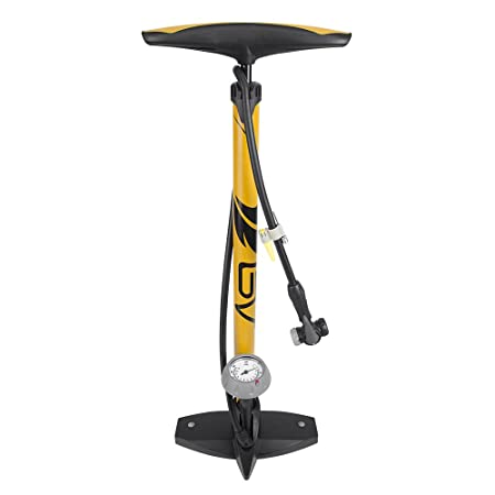 Review BV Bicycle Ergonomic Bike Floor Pump with Gauge & Smart Valve Head, 160 psi, Automatically Reversible Presta and Schrader