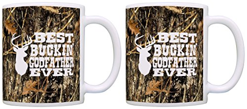 Christening Mug - Christening Gifts Best Buckin' Godfather Ever Funny Gag Gift 2 Pack Gift Coffee Mugs Tea Cups Camo