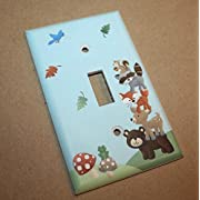 Forest Animal Woodland Friends Stacked Forest Critters Boys Bedroom Baby Nursery Single Light Switch Cover LS0021 (Single Standard)