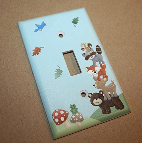 Forest Animal Woodland Friends Stacked Forest Critters Boys Bedroom Baby Nursery Light Switch Cover LS0021 (Single Standard) Toad and Lily LS0021a