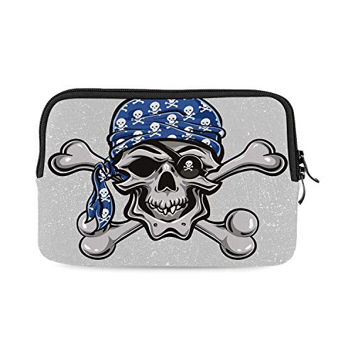 Skull Mini Compatible with Ipad Bag,Scallywag Pirate Dead Head Grunge Horror Icon Evil Sailor Crossed Bones Kerchief for Work,One Size]()