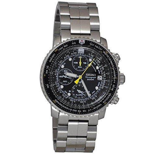 (SEIKO SNA411P1 Men's Pilot Watch Alarm Chronograph 100m WR SNA411)