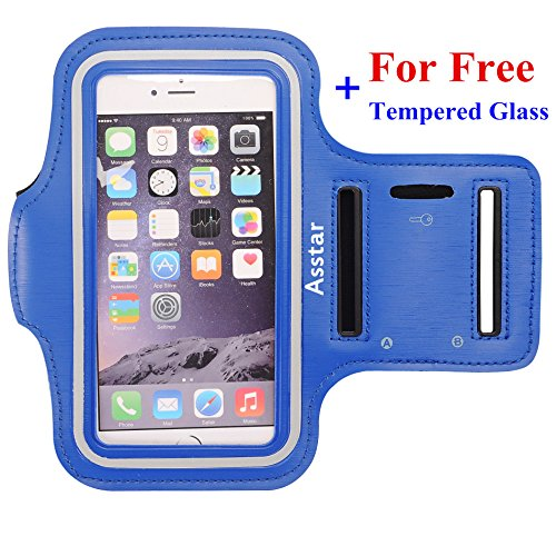 Armband, Asstar [Stand Feature] Premium Running Water Resistant Sports Armband and Fits iPhone 6, 6S,SE, 5, 5S, 5C, Samsung S4, S3, S2, HTC ect with FREE Tempered Glass (Blue )