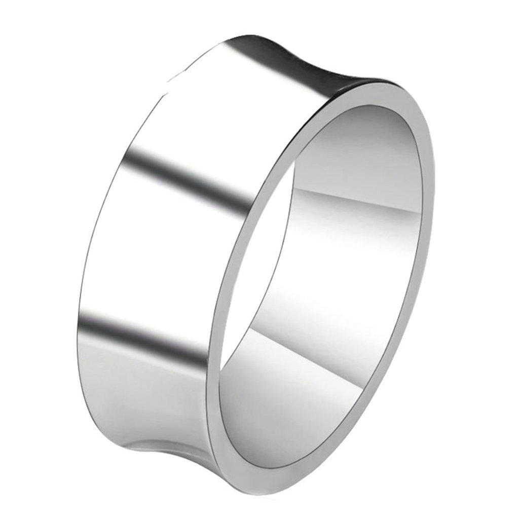 Bishilin Stainless Steel Concave Design Men Silver Trendy Rings Wedding Rings Size 15