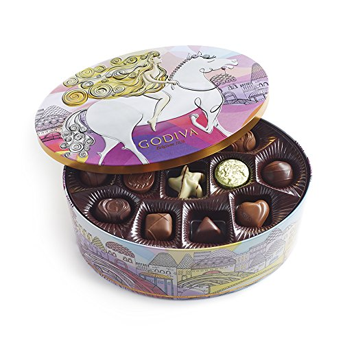 Godiva Chocolatier Limited Edition Lady Godiva Assorted Chocolate and Truffle Keepsake Gift Tin, 36 piece
