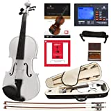 Cecilio CVN-White Solidwood Ebony Fitted White Violin with D'Addario Prelude Strings, Size 4/4 (Full Size)